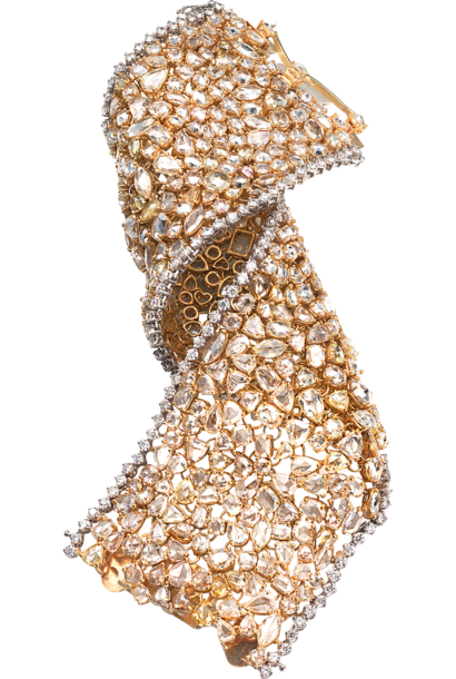 Champagne, Yellow and White Diamond Strap Bracelet