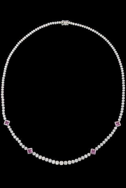 White Diamond & Pink Sapphire Necklace