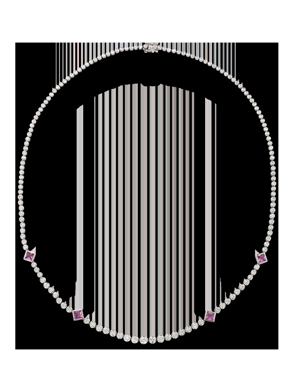 White Diamond & Pink Sapphire Necklace-1