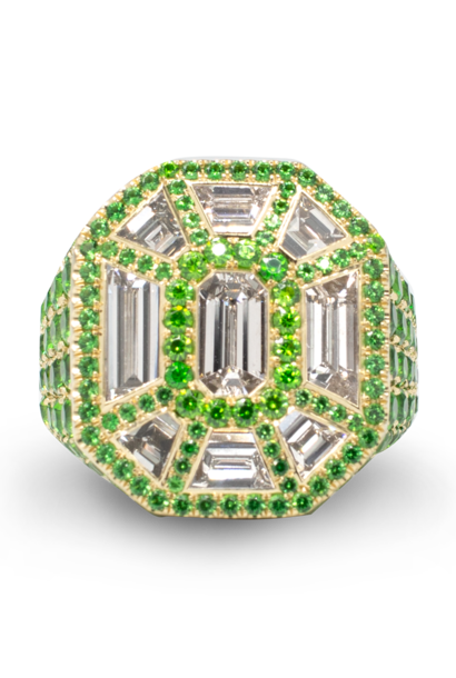 Diamond & Demantoid Garnet Ring