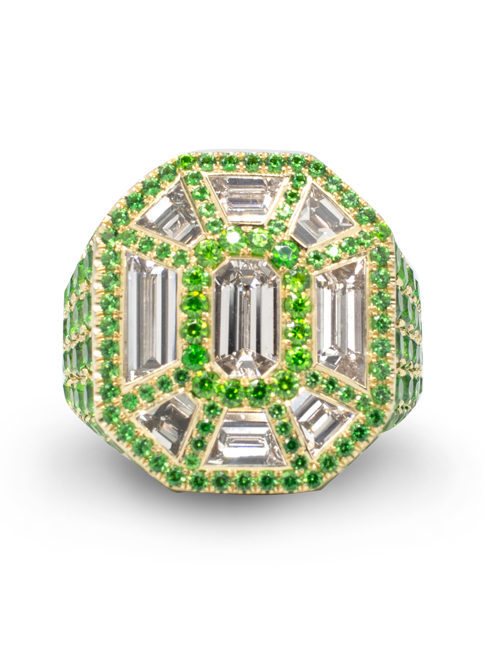 Diamond & Demantoid Garnet Ring-1