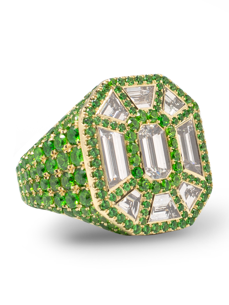 Diamond & Demantoid Garnet Ring-2