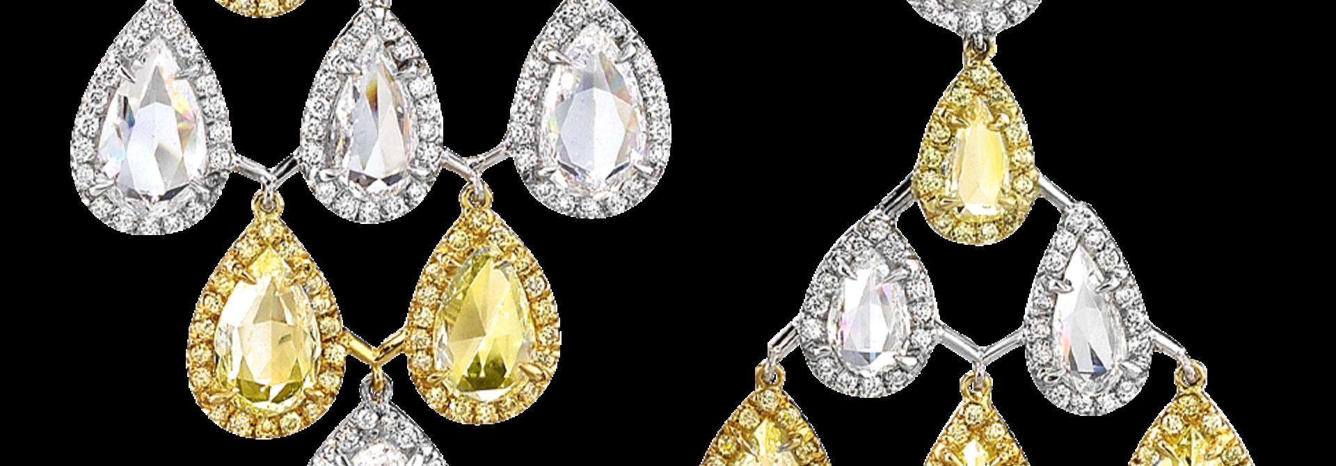 Yellow & White Diamond Chandelier Earrings