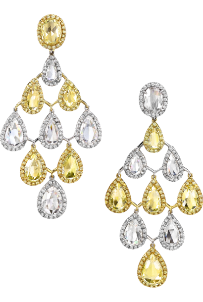 Yellow & White Diamond Chandelier Earrings