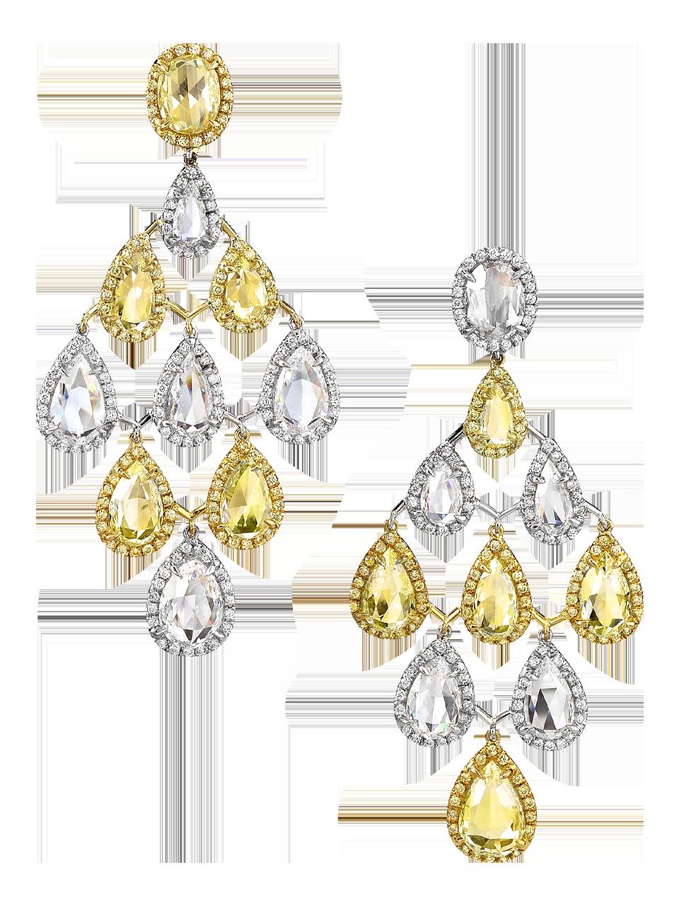 Yellow & White Diamond Chandelier Earrings-1