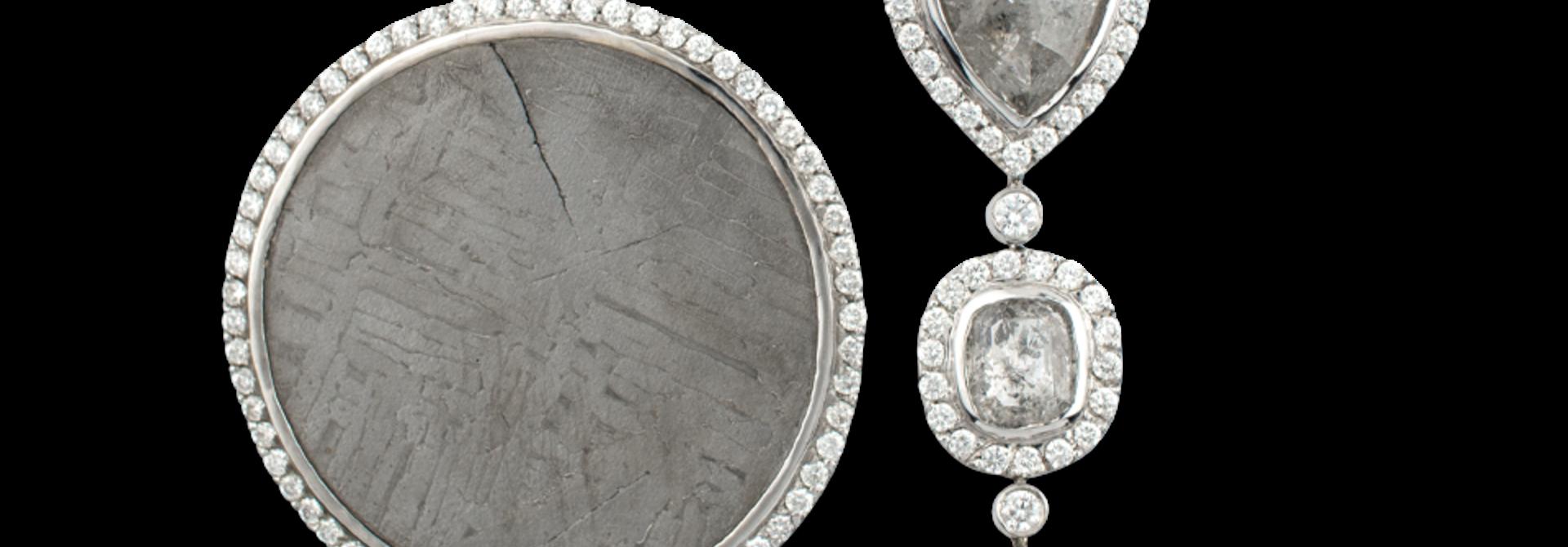 Meteorite & Grey Diamond Earrings