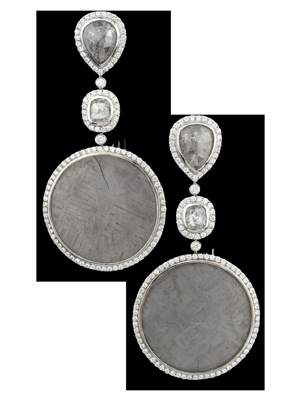 Meteorite & Grey Diamond Earrings-1