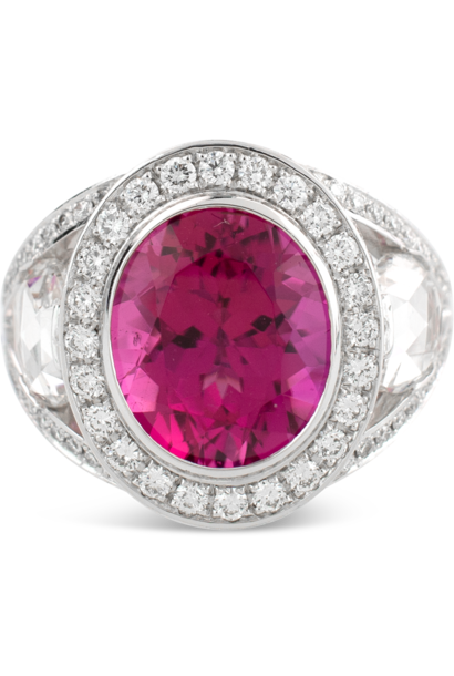Rubelite & Diamond Ring