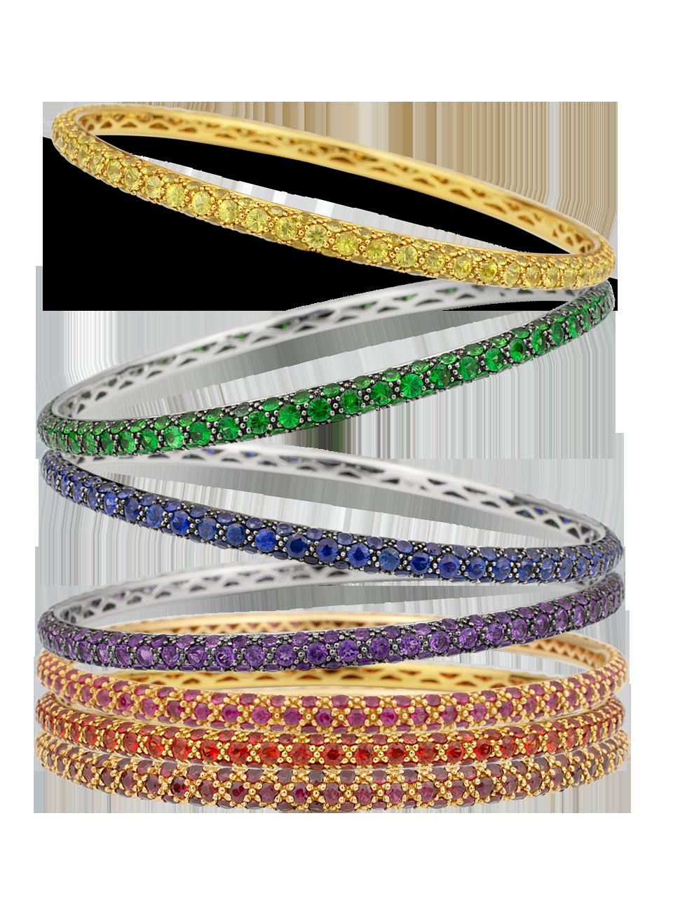 Colored Gemstone Triple Set Bangle-2