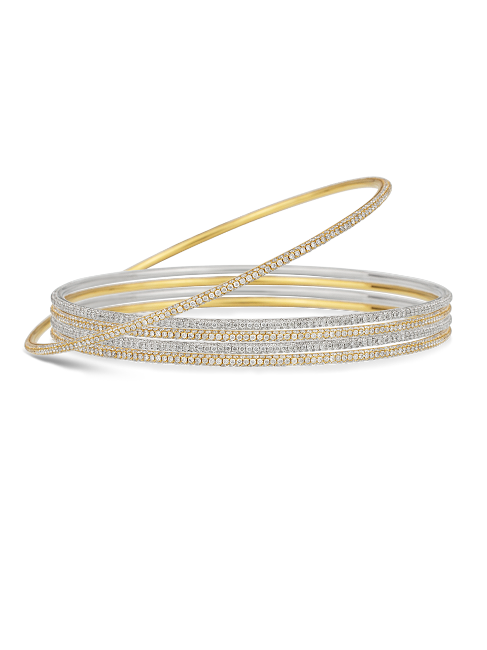 Thin White Diamond Bangle-2