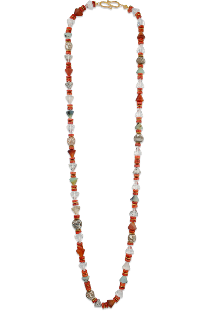 Mixed Stone, Spindlewhorl & 18k Gold Necklace - 36""