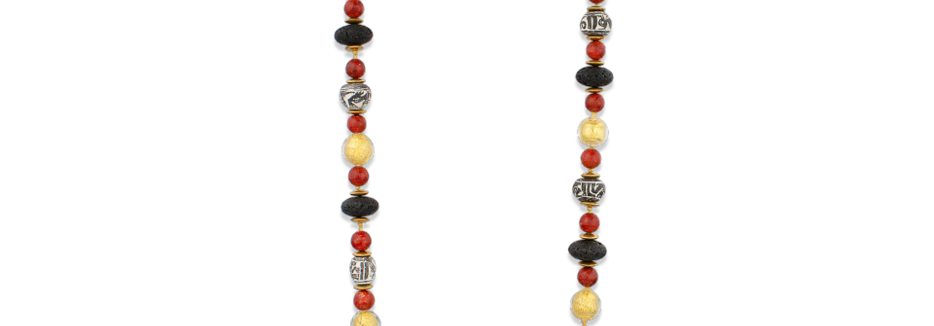 Black Lava, Pre - Columbian Spindle Whorls & Gold Necklace