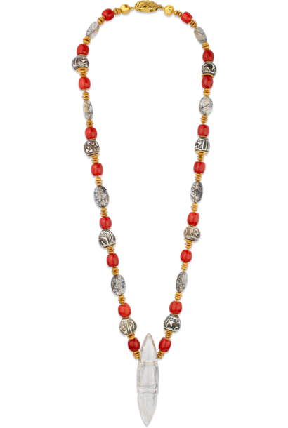 Rutilated Quartz, Coral, Tourmalated Quartz, Spindle Whorl and Gold Necklace