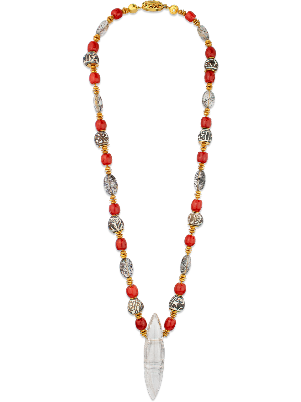 Rutilated Quartz, Coral, Tourmalated Quartz, Spindle Whorl and Gold Necklace-1