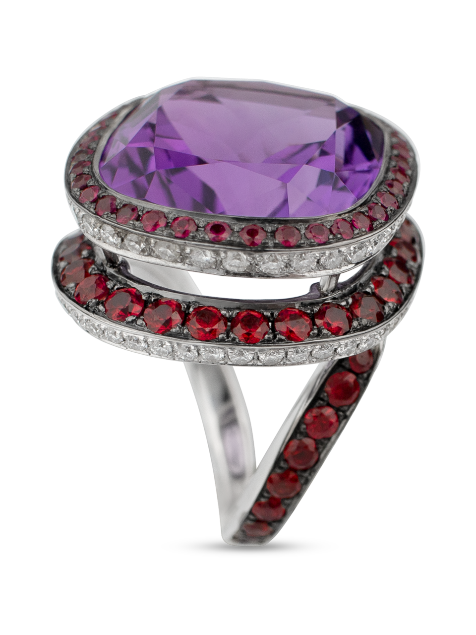 Plum | Amethyst & Red Spinel Ring-3