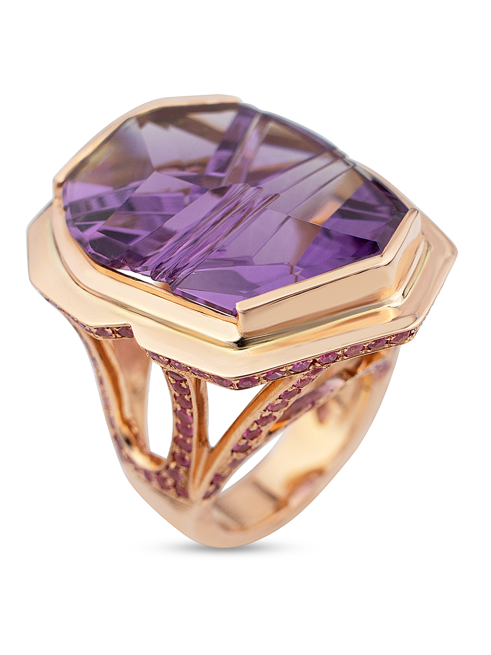 Amethyst Ring with Pink Spinel Pave-3