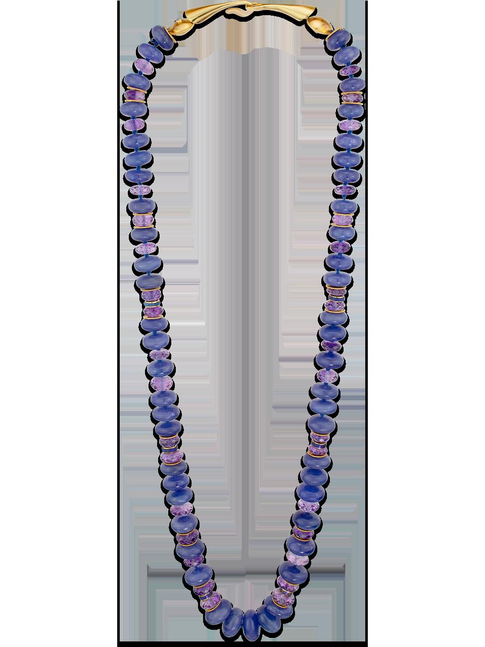Tanzanite, Amethyst & Black Opal Necklace-2