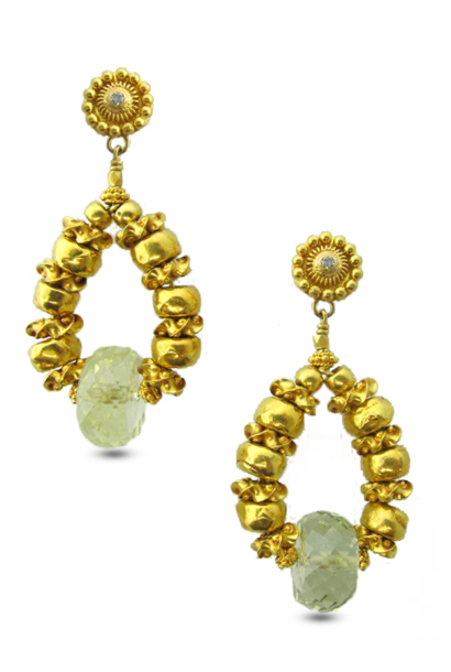 Gold and Green Beryl Earrings