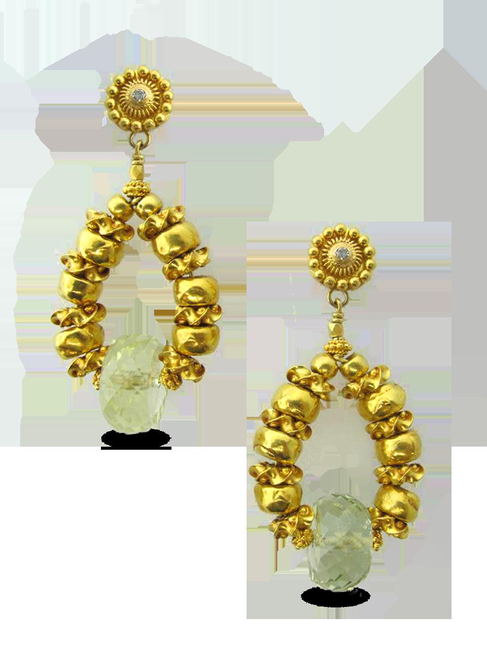 Gold and Green Beryl Earrings-1