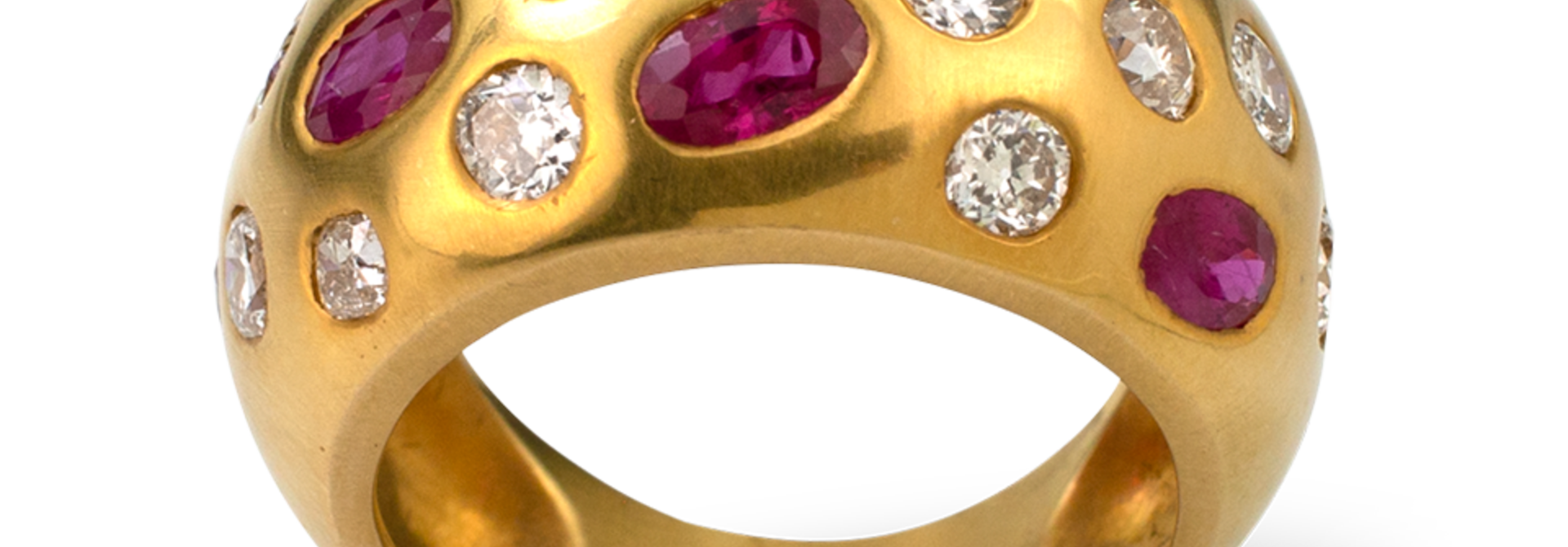 Ruby and Diamond Bombe Ring