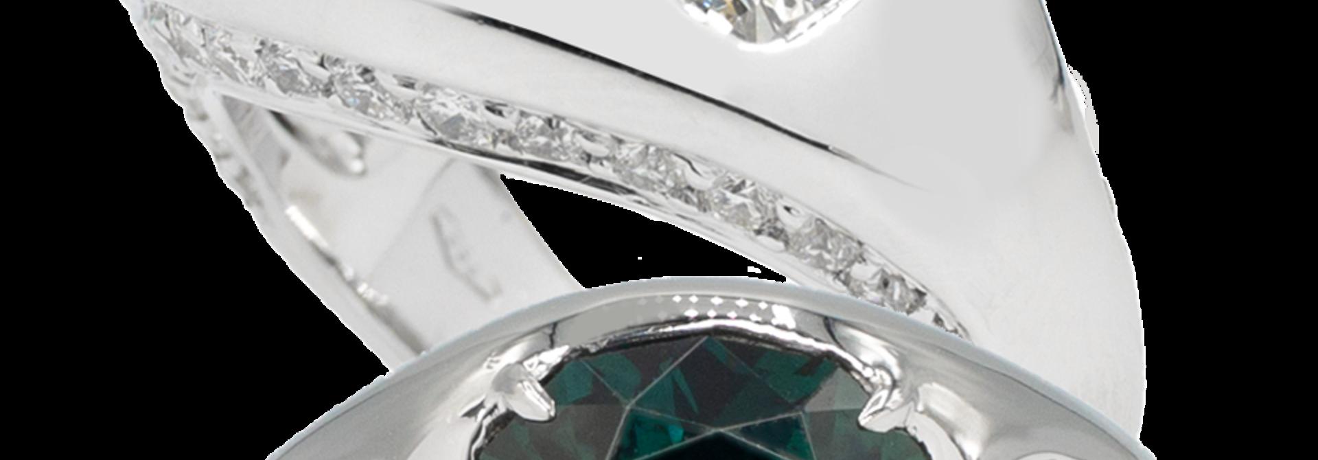 Greenish Blue Sapphire & Diamond Ring