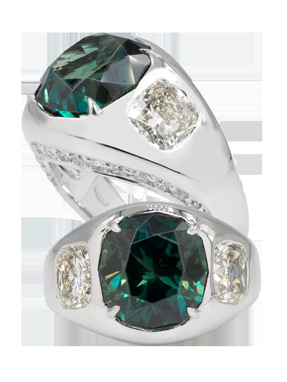Greenish Blue Sapphire & Diamond Ring-1