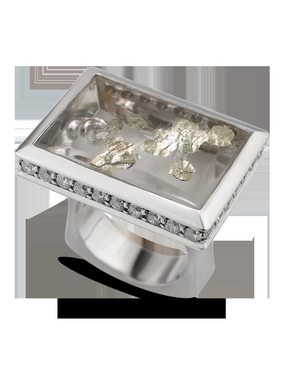"""Arctic Pond"" | Quartz with Pyrite and Diamond Ring-3"