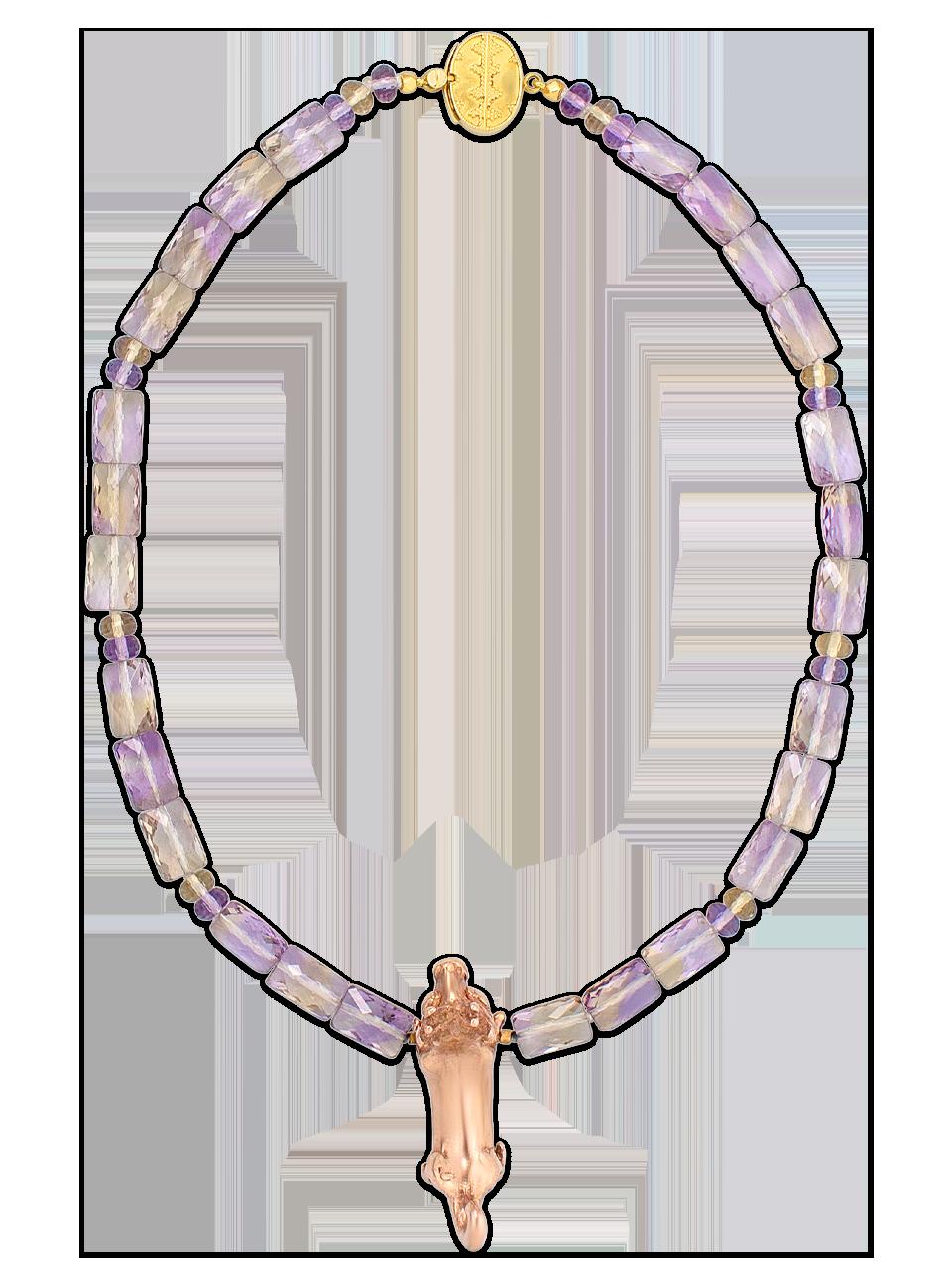 "Pre-Columbian Gold Animal & Ametrine Necklace - 18""-1"