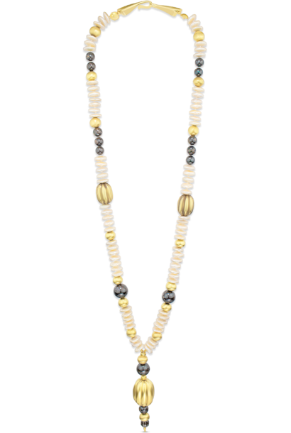 """Pre-Columbian Gold, Boulder Opal, Coin Pearl and Brown Diamond Necklace - 30"""""""