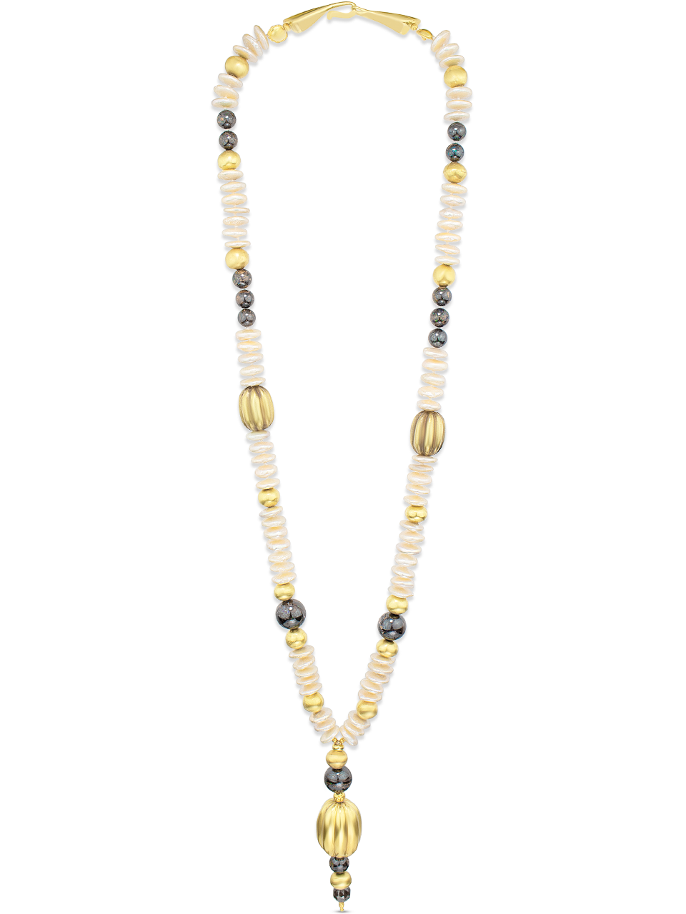"""Pre-Columbian Gold, Boulder Opal, Coin Pearl and Brown Diamond Necklace - 30""""-1"""