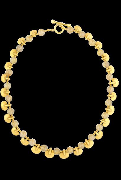 "Rutilated Quartz & Pre-Columbian Gold Ovoid Pendants Necklace - 24"""