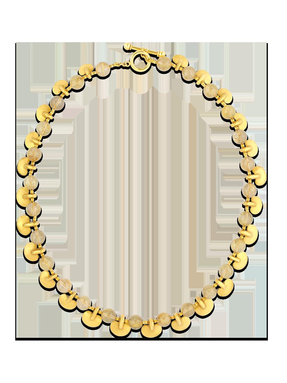 "Rutilated Quartz & Pre-Columbian Gold Ovoid Pendants Necklace - 24""-1"