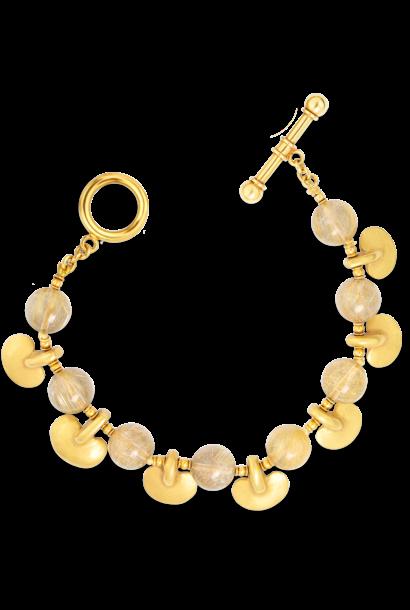 "Pre-Columbian Gold & Rutilated Quartz Bracelet - 7.5"""