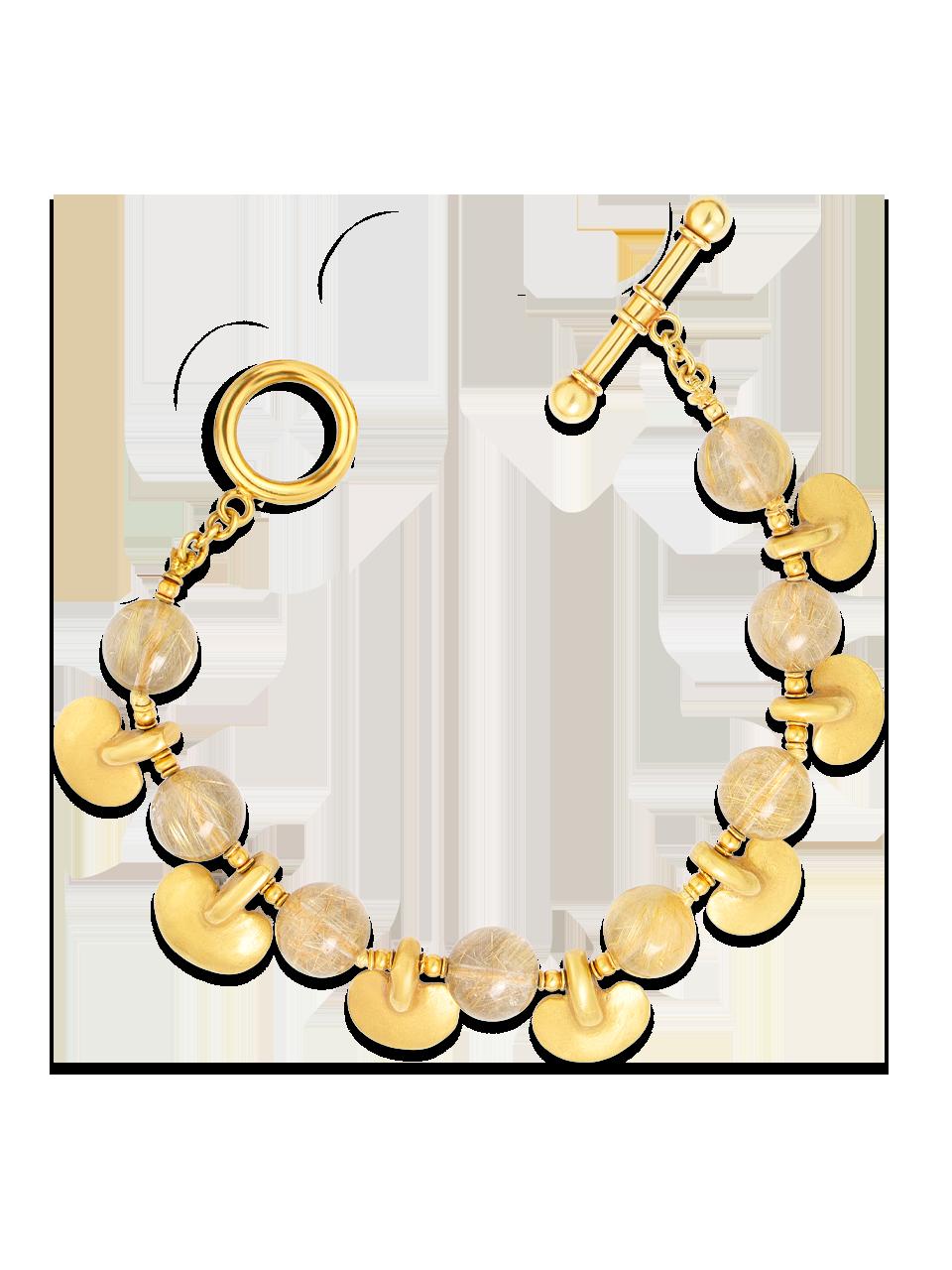 "Pre-Columbian Gold & Rutilated Quartz Bracelet - 7.5""-1"