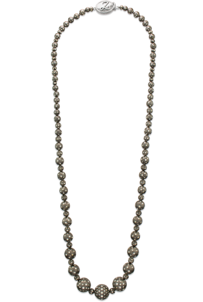 """Graduated Sterling Silver and Diamond Necklace - 28"""""""