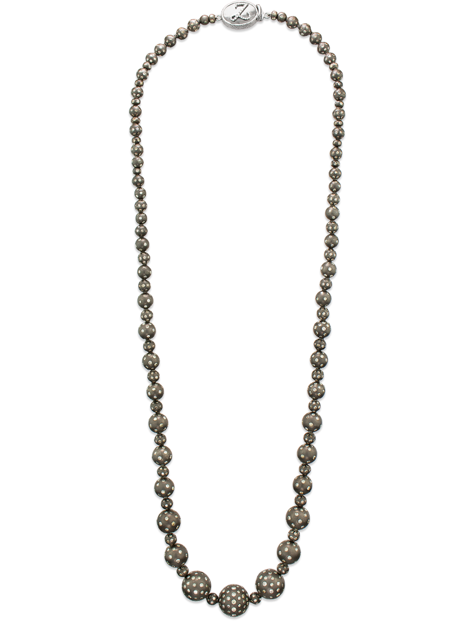 """Graduated Sterling Silver and Diamond Necklace - 28""""-1"""