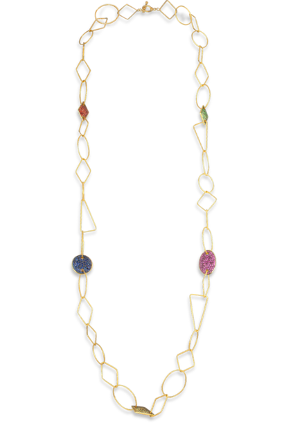 18k Gold Link, Multi-Gem Necklace