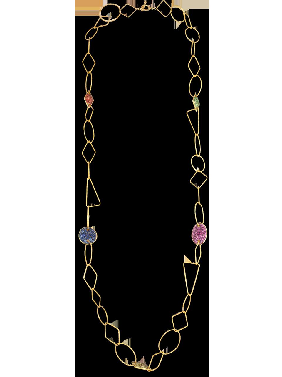 18k Gold Link, Multi-Gem Necklace-1
