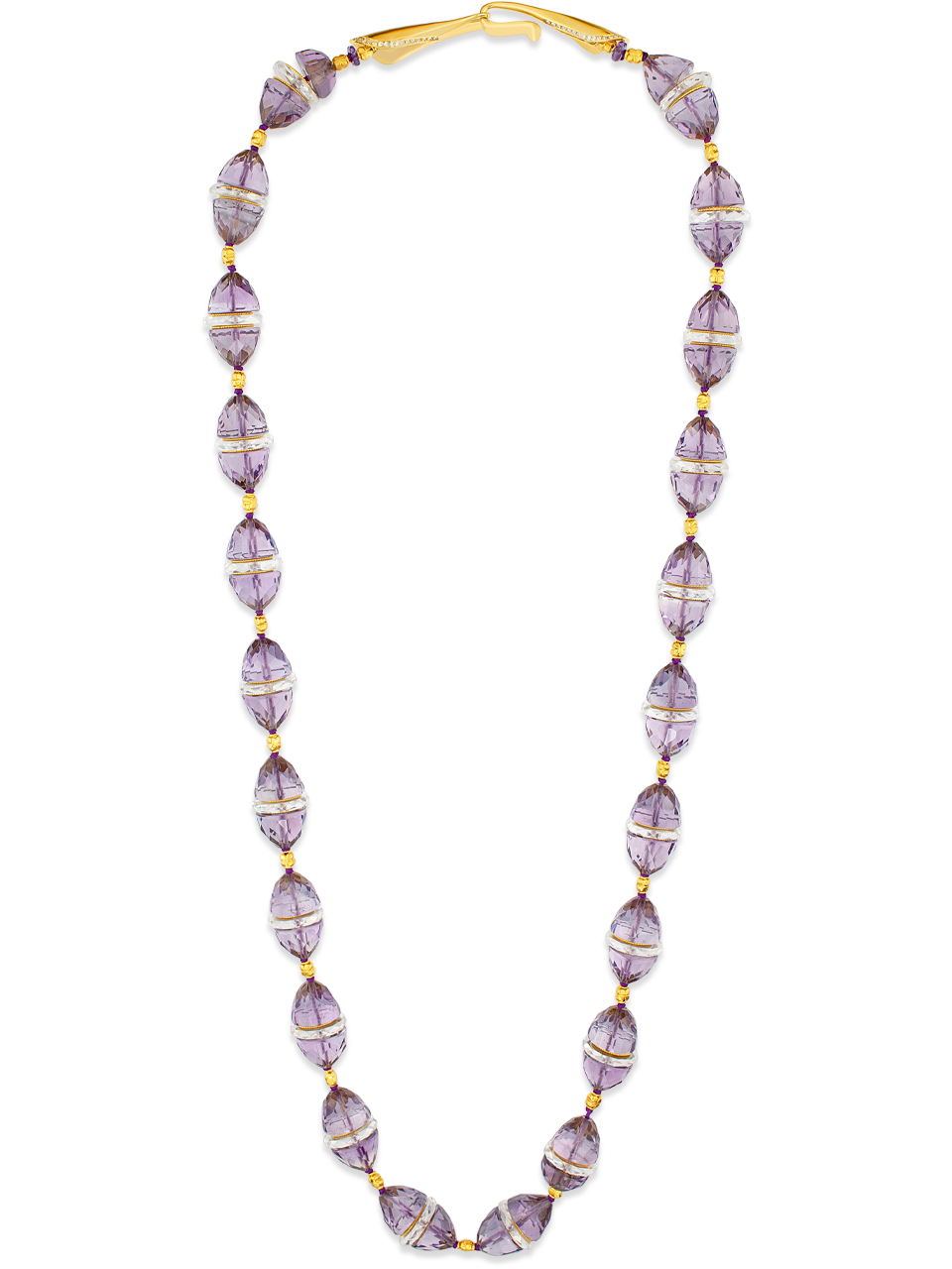 """Amethyst and Crystal Necklace 26""""-1"""