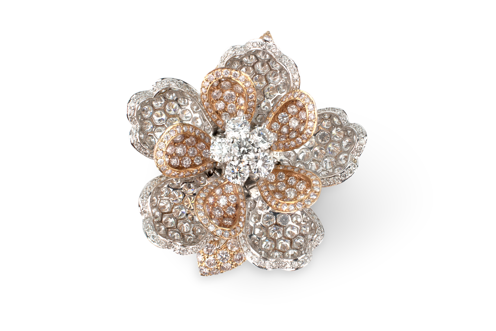 Pink & White Diamond Flower Ring - Moveable Petals-1