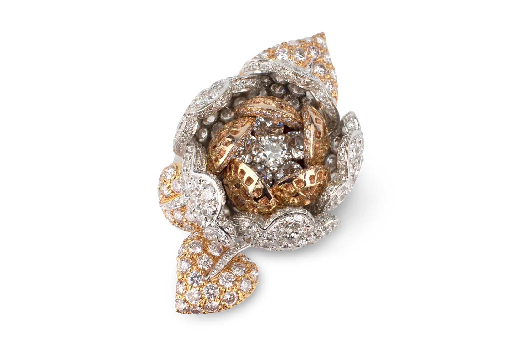 Pink & White Diamond Flower Ring - Moveable Petals-2