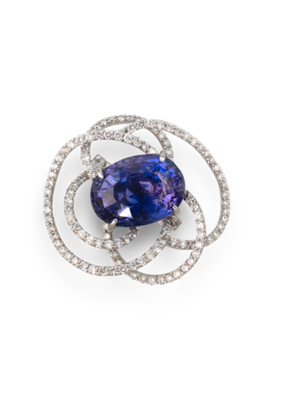 Purple-Blue/Violet Sapphire Flower Ring