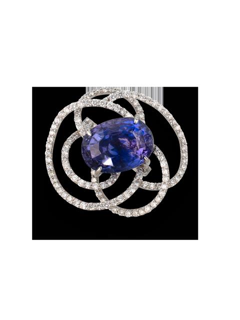 Purple-Blue/Violet Sapphire Flower Ring-1