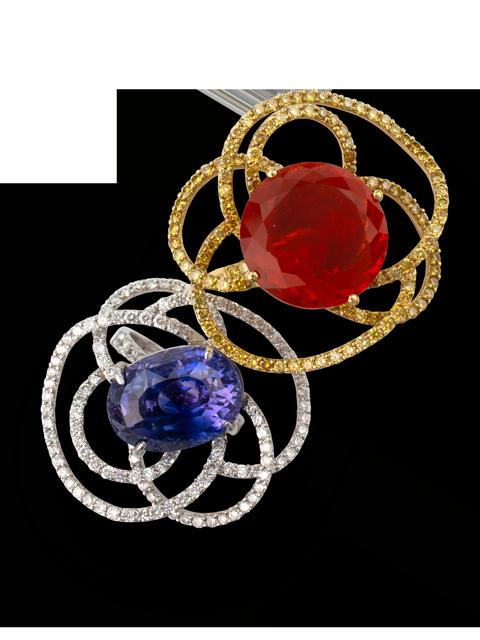 Purple-Blue/Violet Sapphire Flower Ring-2