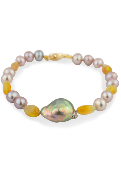 Freshwater Pearl and Ethiopian Opal Bracelet - 7""