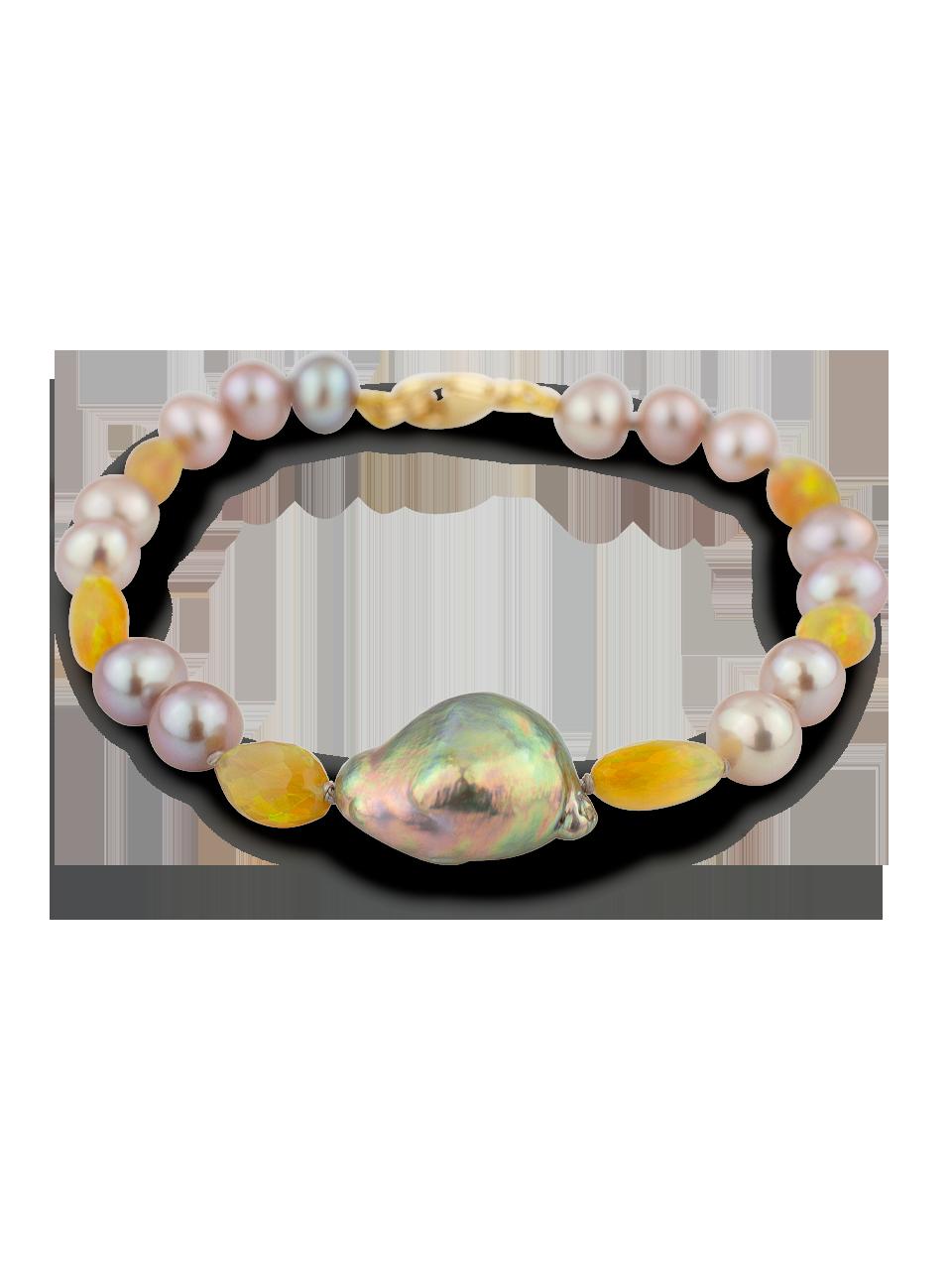 "Freshwater Pearl and Ethiopian Opal Bracelet - 7""-1"