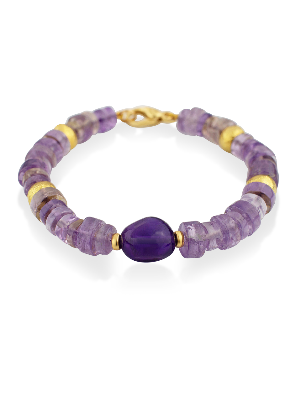 "Amethyst and Gold Bracelet - 7""-1"