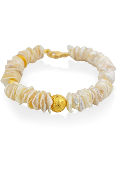 "Flat Keshi Pearl and Gold Bracelet - 7"""