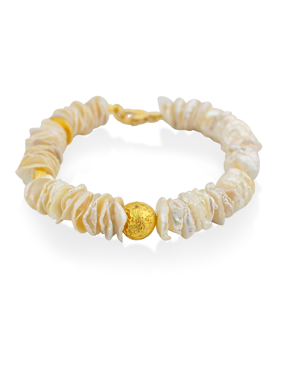 "Flat Keshi Pearl and Gold Bracelet - 7""-1"