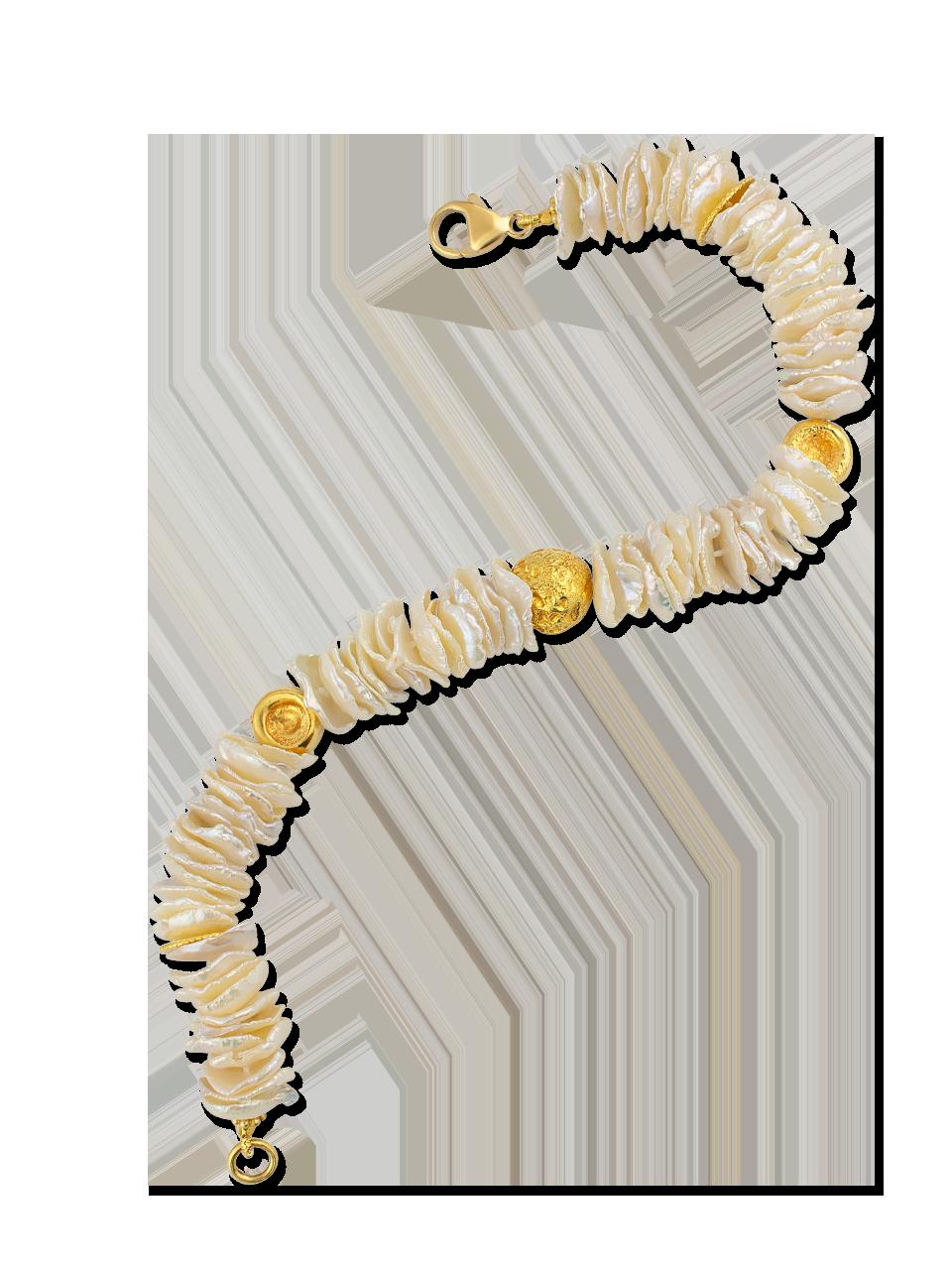 "Flat Keshi Pearl and Gold Bracelet - 7""-2"